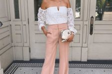 14 blush pants, a white lace off the shoulder top and a white clutch for a night out