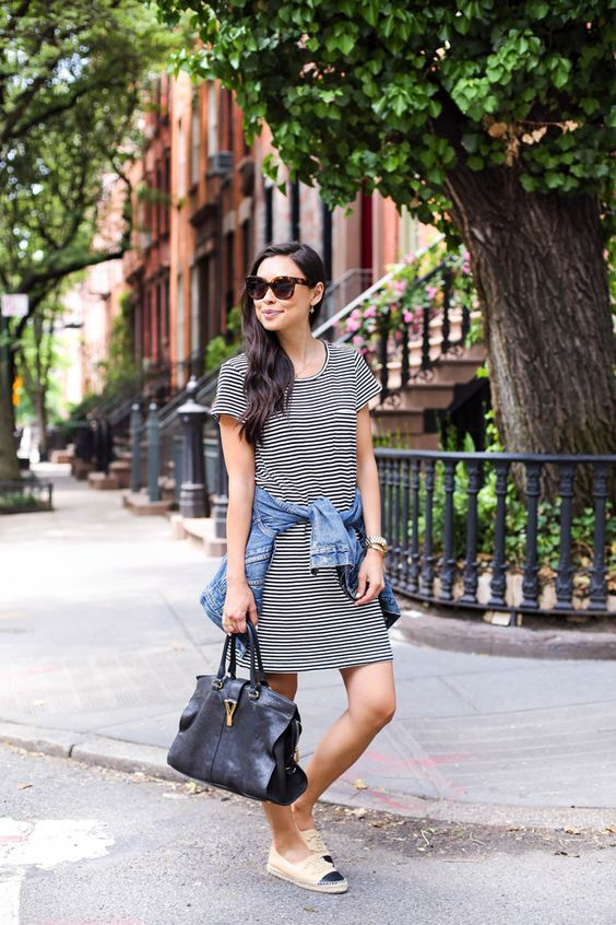 a striped t shirt dress, a denim jacket, a black bag and black and white espadrilles for every day