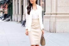 15 a white top, a blush pencil skirt, blush strappy heels and a creamy blazer for a girlish feel