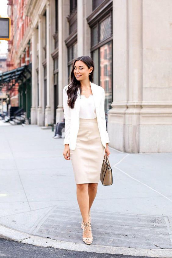 a white top, a blush pencil skirt, blush strappy heels and a creamy blazer for a girlish feel
