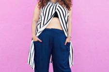 15 navy culottes, a black bra, a striped long top with a necklace and white heels for a summer party