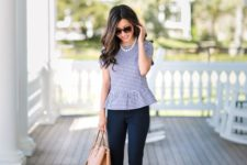 15 navy pants, a blue gingham ruffle top, nude shoes and a bag plus a strand of pearls