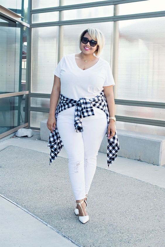 white ripped jeans, a white tee, white heels and a plain shirt to spruce up the monochrome look