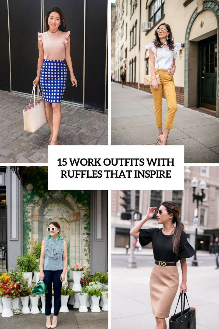 15 Work Outfits With Ruffles That Inspire