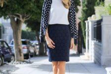 16 a white top, a polka dot shirt, black shoes and a navy pencil skirt