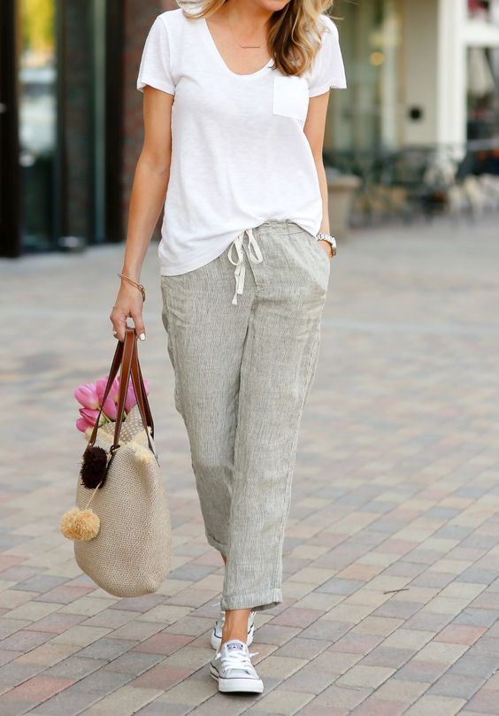 cropped grey linen pants, a white tee, grey sneakers for a casual summer look