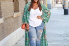 16 ripped jeans, a white top, a floral kimono, camel shoes and an orange bag