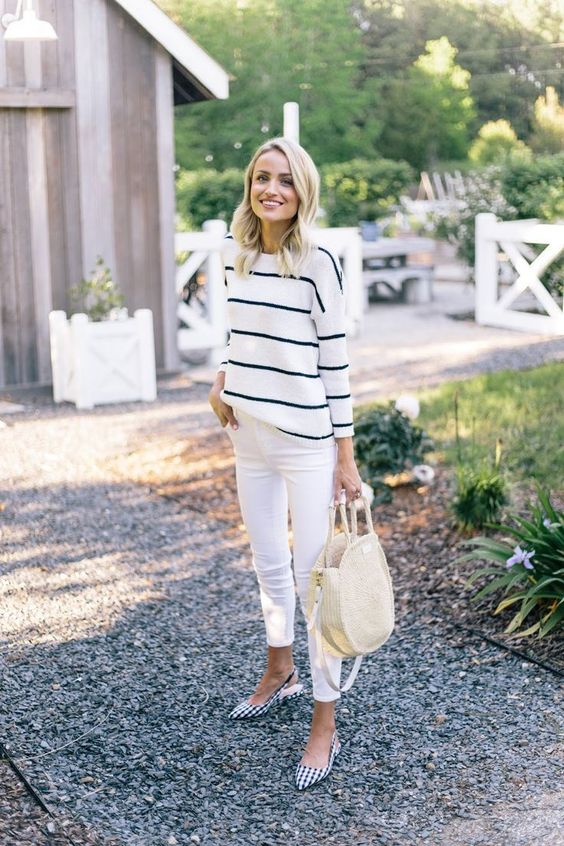 white cropped jeans, a striped top, gingham flats and a straw bag