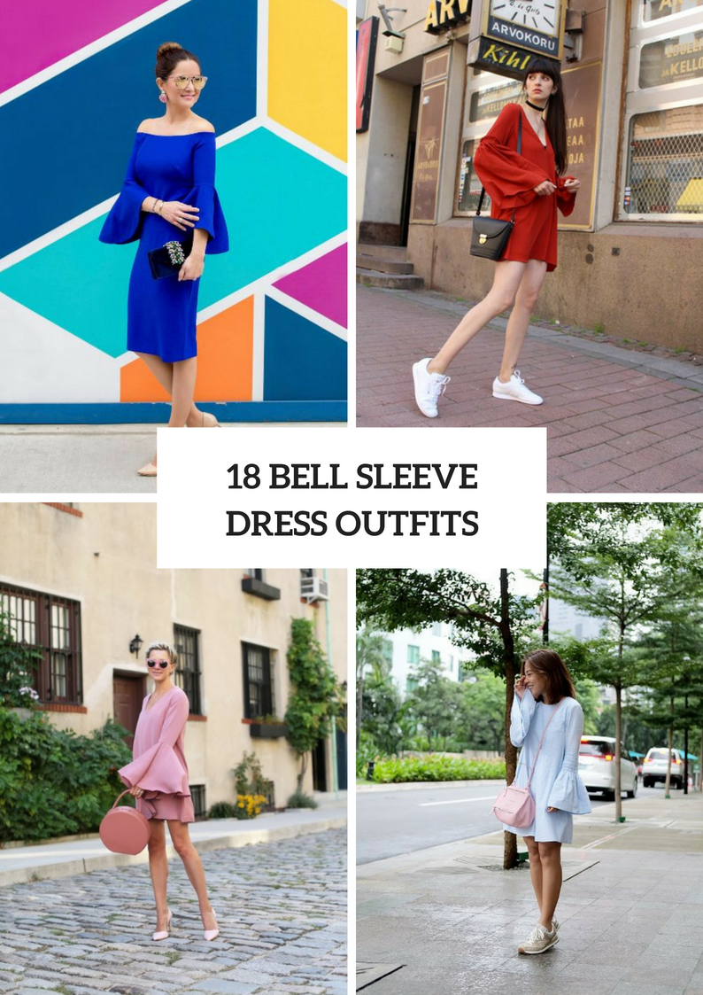 Airy Bell Sleeve Dress Outfits