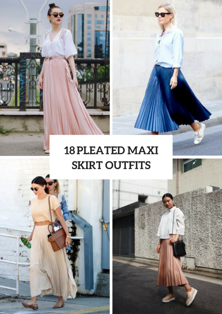 18 Gorgeous Outfits With Pleated Maxi Skirts