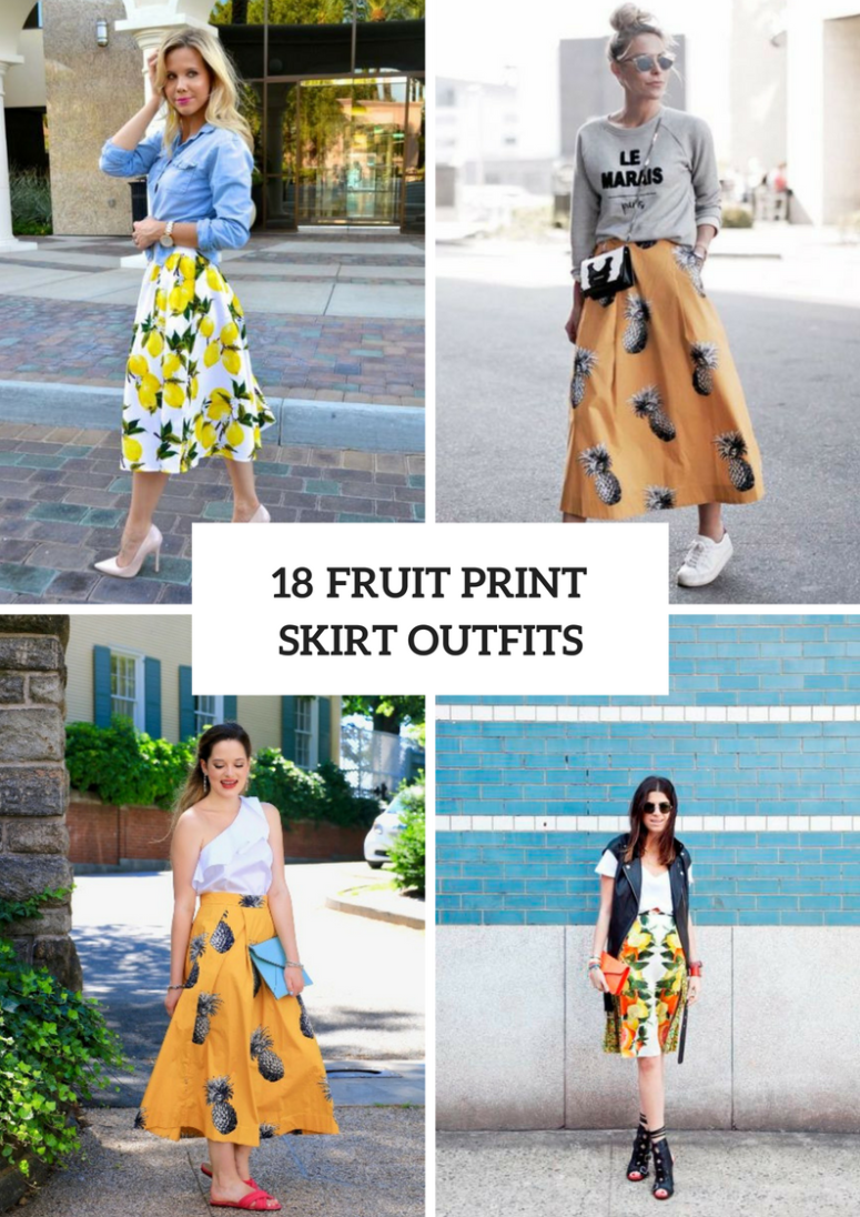 Outfits With Fruit Printed Skirts