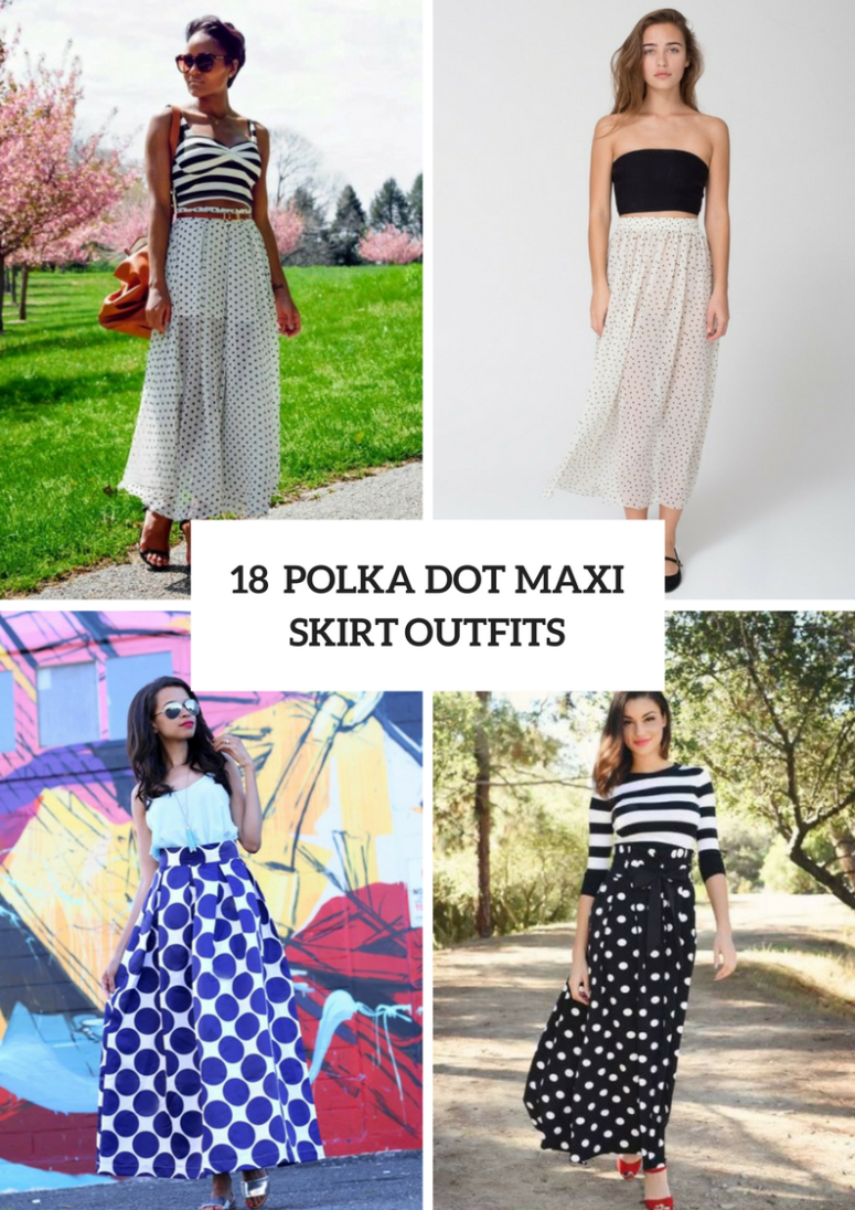 18 Outfits With Polka Dot Maxi Skirts