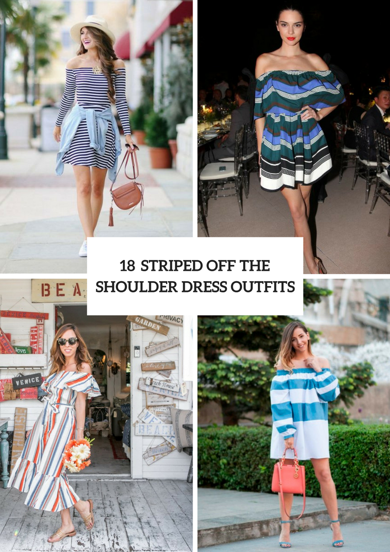 Striped Off The Shoulder Dress Outfits For Stylish Ladies