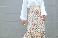 summer look with an animal print skirt