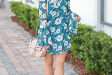 With beige bag and ankle strap sandals