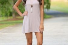 With beige mini dress