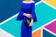 cobalt blue dress look for summer