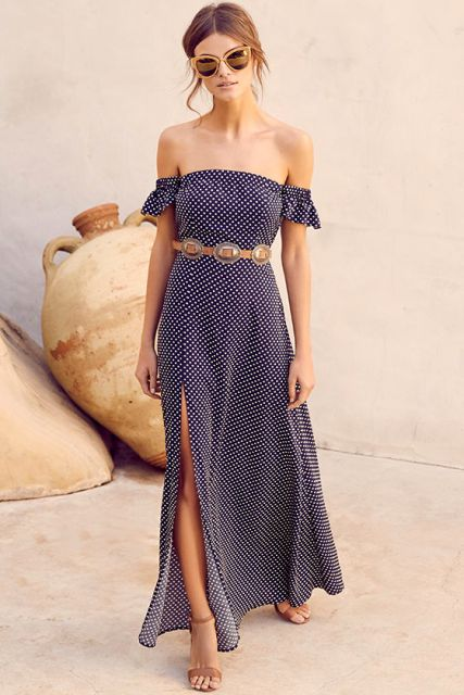 With belt and beige ankle strap sandals
