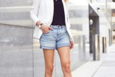With black top, white blazer and black sandals