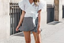 With checked ruffled mini skirt, pink bag and flat sandals