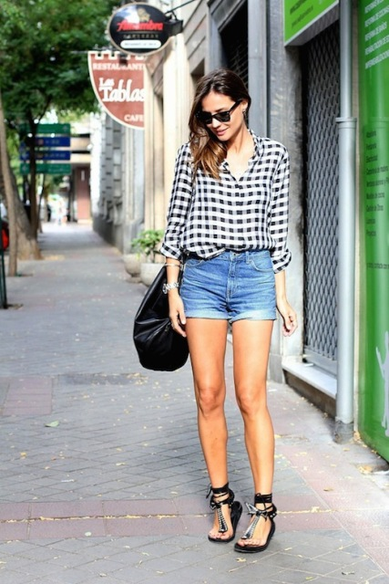 With checked shirt, black flat sandals and black bag
