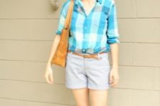 With checked shirt, sandals and brown bag