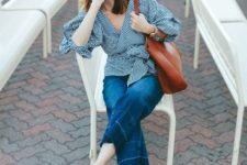With crop jeans, brown tote and black mules