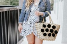 summer look with pom pom tote
