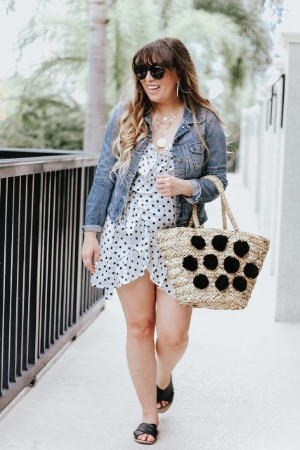 With denim jacket, pom pom tote and flat sandals