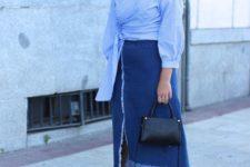 With denim midi skirt, platform sandals and black bag