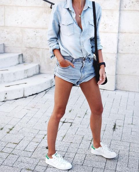 With denim shirt, black bag and white sneakers