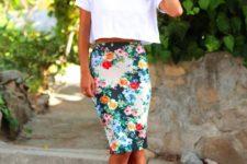 floral skirt summer look