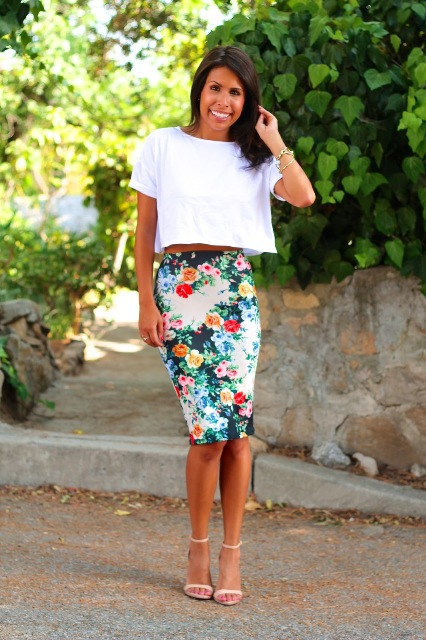 With floral pencil skirt and ankle strap shoes