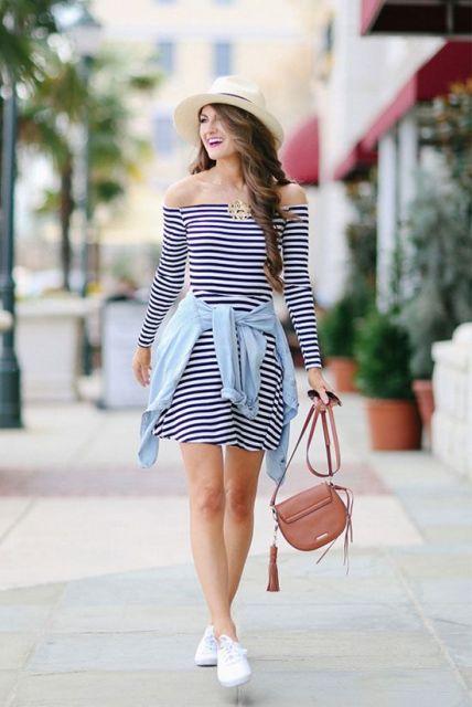 18 Striped Off The Shoulder Dress