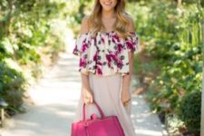 With maxi pleated skirt and hot pink bag