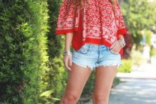 With printed off the shoulder blouse and denim shorts
