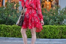 With printed tote and gray cutout shoes