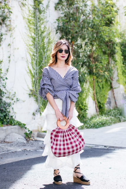 With ruffled maxi skirt, plaid bag and lace up platform sandals