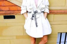 With shirtdress and printed belt