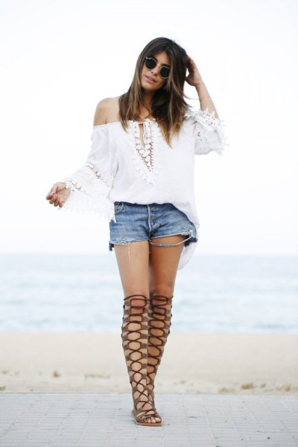 With shorts and off the shoulder blouse