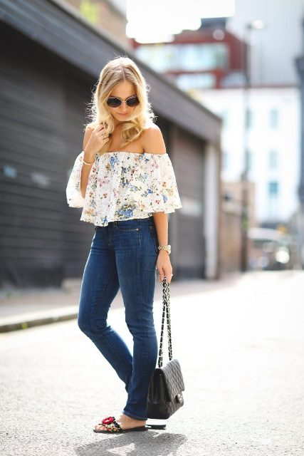 With skinny jeans, chain strap bag and flat sandals