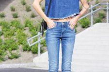 With skinny jeans, mules and black bag