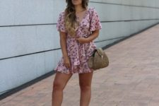 With straw bag and white platform shoes