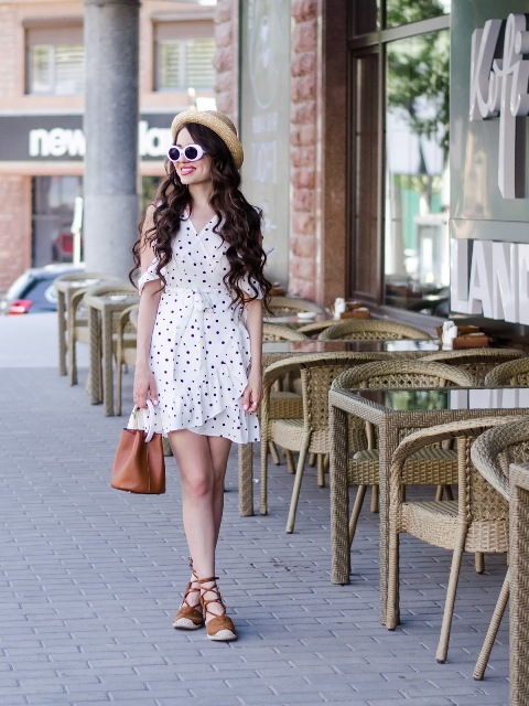 With straw hat, brown mini bag and lace up espadrilles