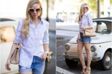 With striped button down shirt, denim shorts and chain strap bag