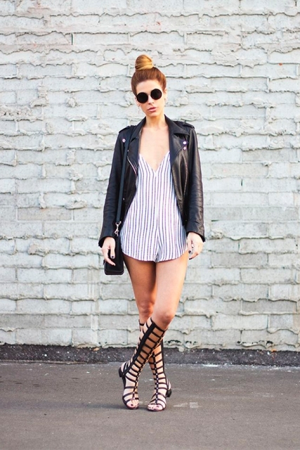 With striped romper, black bag and black leather jacket