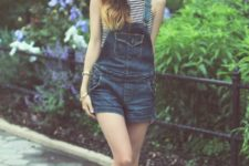With striped shirt and denim romper