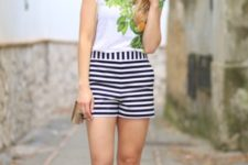summer look with striped shorts