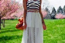 summer look with stripped top