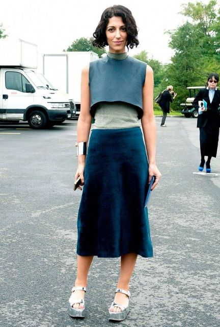 With velvet skirt and silver platform sandals